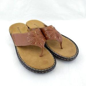 Naturalizer 8.5M Flip Flop Sandals Brown Leather